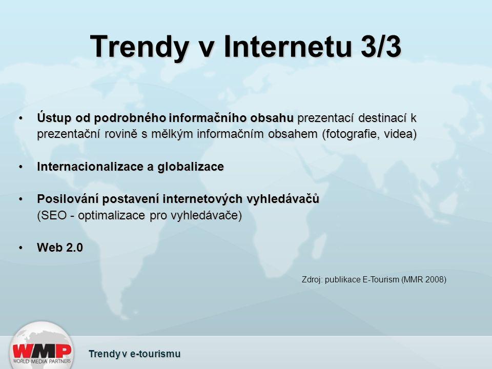 Trendy v Internetu 3/3 Ústup od podrobného informačního obsahu prezentací destinací k prezentační rovině s mělkým informačním obsahem (fotografie, videa)Ústup od podrobného informačního obsahu prezentací destinací k prezentační rovině s mělkým informačním obsahem (fotografie, videa) Internacionalizace a globalizaceInternacionalizace a globalizace Posilování postavení internetových vyhledávačů (SEO - optimalizace pro vyhledávače)Posilování postavení internetových vyhledávačů (SEO - optimalizace pro vyhledávače) Web 2.0Web 2.0 Zdroj: publikace E-Tourism (MMR 2008) Trendy v e-tourismu