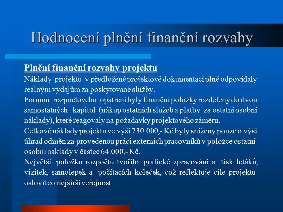 Hodnocení plnění finanční rozvahy Plnění finanční rozvahy projektu Náklady projektu v předložené projektové dokumentaci plně odpovídaly reálným výdajům za poskytované služby.