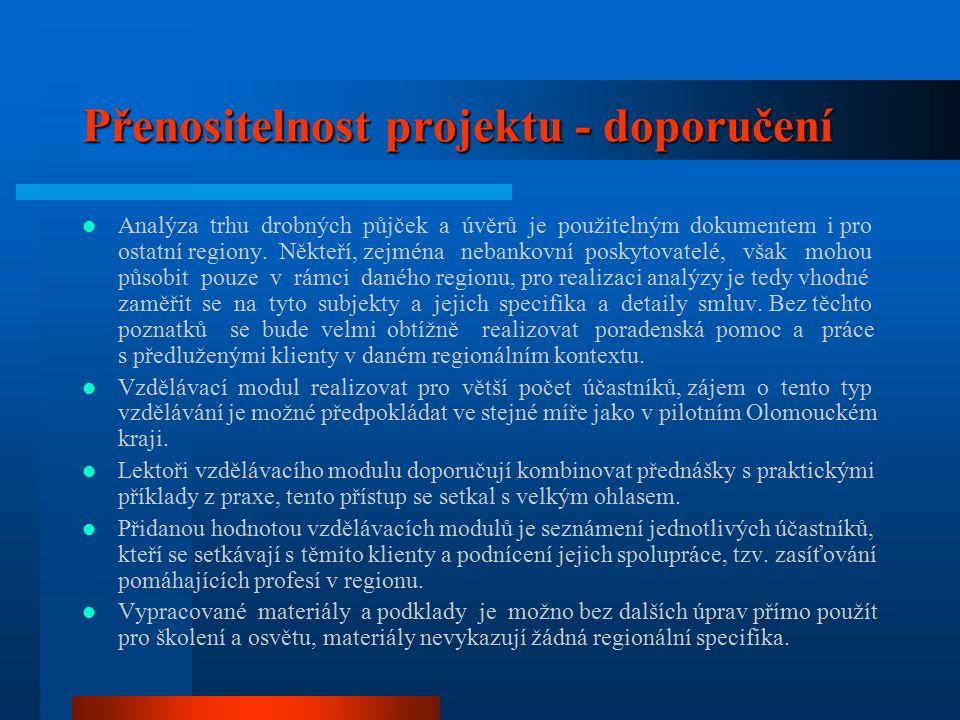 Přenositelnost projektu - doporučení Analýza trhu drobných půjček a úvěrů je použitelným dokumentem i pro ostatní regiony.