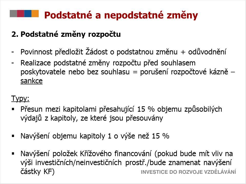 Podstatné a nepodstatné změny 2. Podstatné změny rozpočtu -Povinnost předložit Žádost o podstatnou změnu + odůvodnění -Realizace podstatné změny rozpo