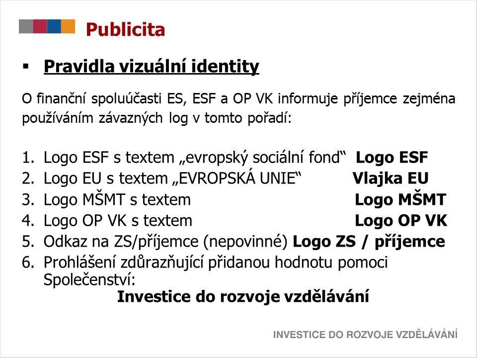 Publicita  Pravidla vizuální identity O finanční spoluúčasti ES, ESF a OP VK informuje příjemce zejména používáním závazných log v tomto pořadí: 1.Lo