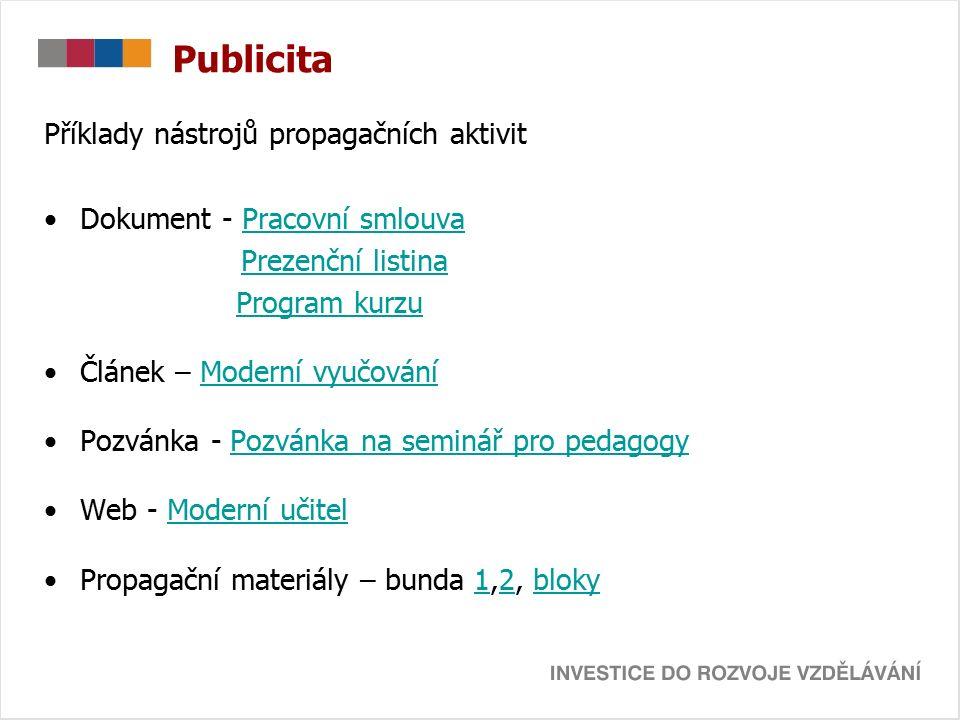 Příklady nástrojů propagačních aktivit Dokument - Pracovní smlouvaPracovní smlouva Prezenční listina Program kurzu Článek – Moderní vyučováníModerní v