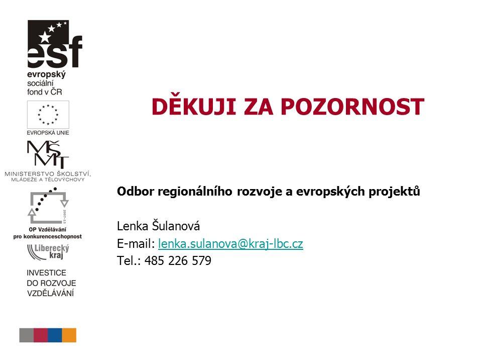 DĚKUJI ZA POZORNOST Odbor regionálního rozvoje a evropských projektů Lenka Šulanová E-mail: lenka.sulanova@kraj-lbc.czlenka.sulanova@kraj-lbc.cz Tel.:
