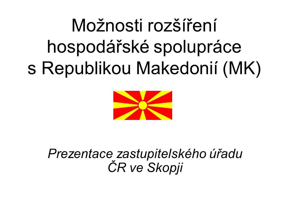 Možnosti rozšíření hospodářské spolupráce s Republikou Makedonií (MK) Prezentace zastupitelského úřadu ČR ve Skopji