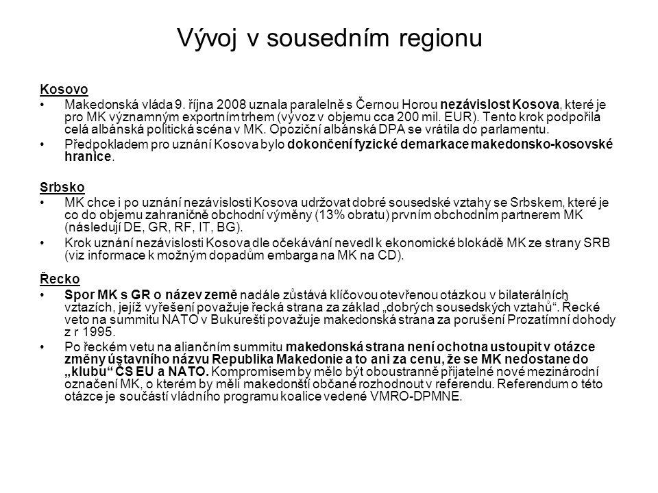 Vývoj v sousedním regionu Kosovo Makedonská vláda 9.