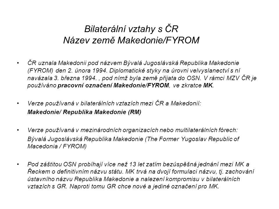 Bilaterální vztahy s ČR Název země Makedonie/FYROM ČR uznala Makedonii pod názvem Bývalá Jugoslávská Republika Makedonie (FYROM) den 2.