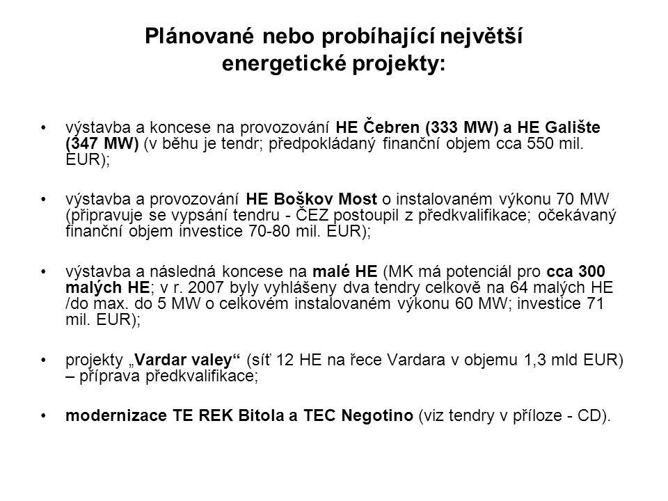 Plánované nebo probíhající největší energetické projekty: výstavba a koncese na provozování HE Čebren (333 MW) a HE Galište (347 MW) (v běhu je tendr; předpokládaný finanční objem cca 550 mil.