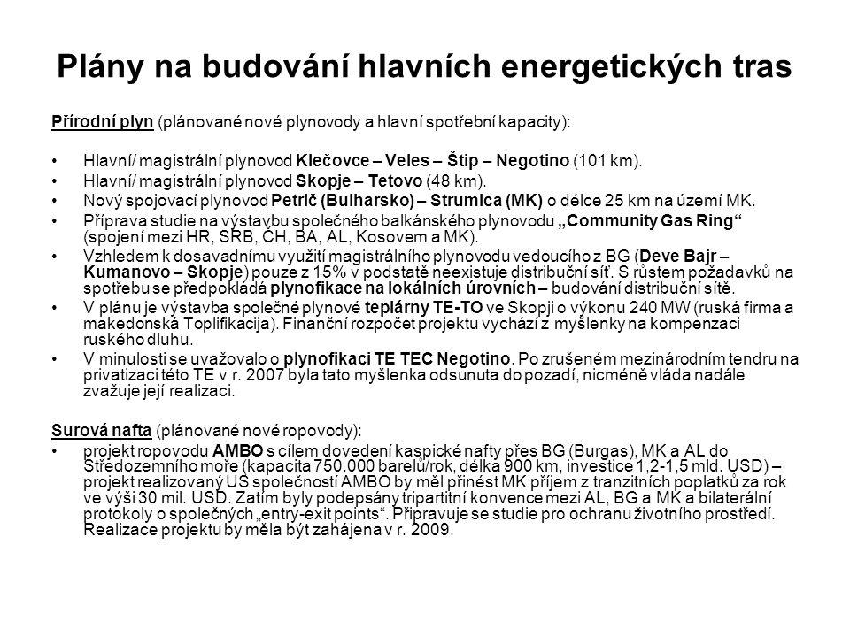 Plány na budování hlavních energetických tras Přírodní plyn (plánované nové plynovody a hlavní spotřební kapacity): Hlavní/ magistrální plynovod Klečovce – Veles – Štip – Negotino (101 km).