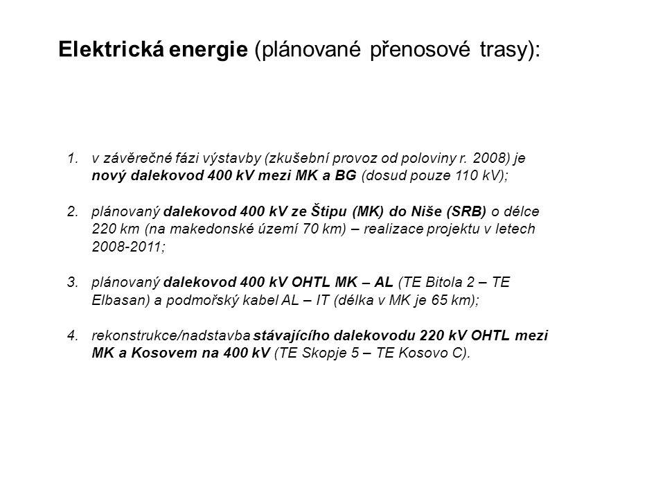 Elektrická energie (plánované přenosové trasy): 1.v závěrečné fázi výstavby (zkušební provoz od poloviny r.
