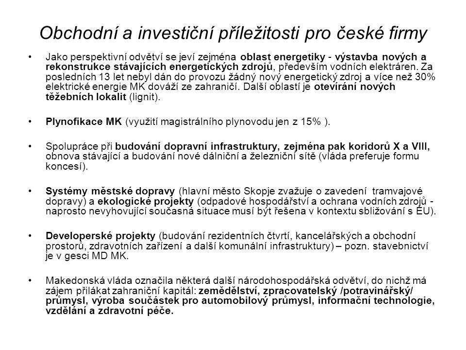 Obchodní a investiční příležitosti pro české firmy Jako perspektivní odvětví se jeví zejména oblast energetiky - výstavba nových a rekonstrukce stávajících energetických zdrojů, především vodních elektráren.