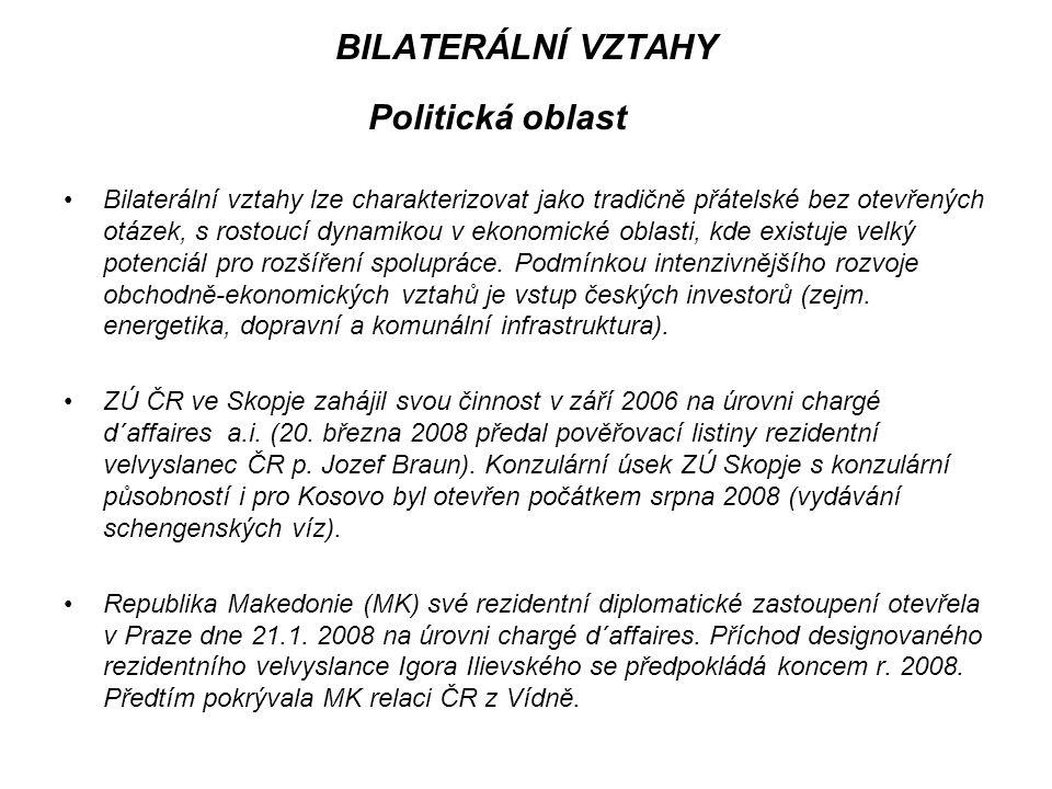 BILATERÁLNÍ VZTAHY Politická oblast Intenzifikace kontaktů na nejvyšší politické úrovni v posledních v dvou letech: - návštěva MO ČR V.