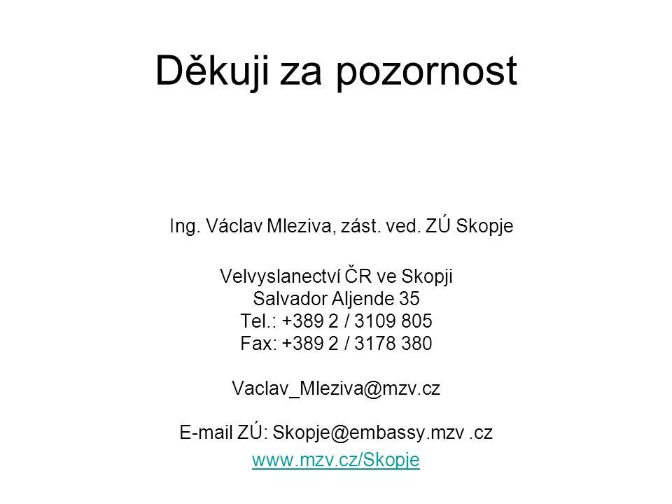 Děkuji za pozornost Ing. Václav Mleziva, zást. ved.