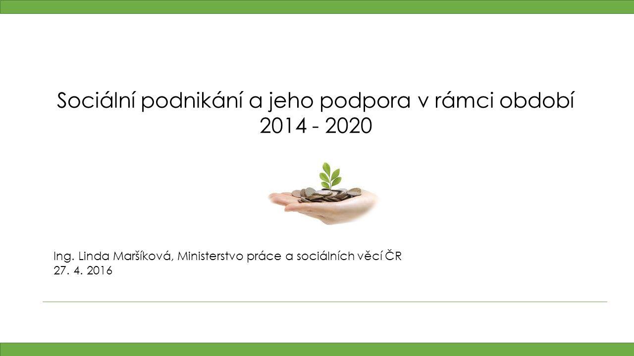 Sociální podnikání a jeho podpora v rámci období 2014 - 2020 Ing.