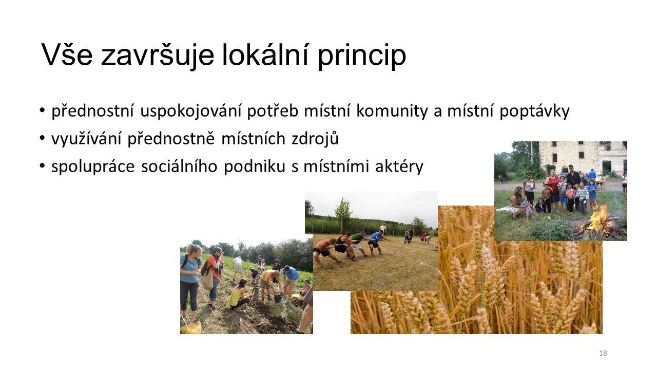 Vše završuje lokální princip přednostní uspokojování potřeb místní komunity a místní poptávky využívání přednostně místních zdrojů spolupráce sociálního podniku s místními aktéry 18