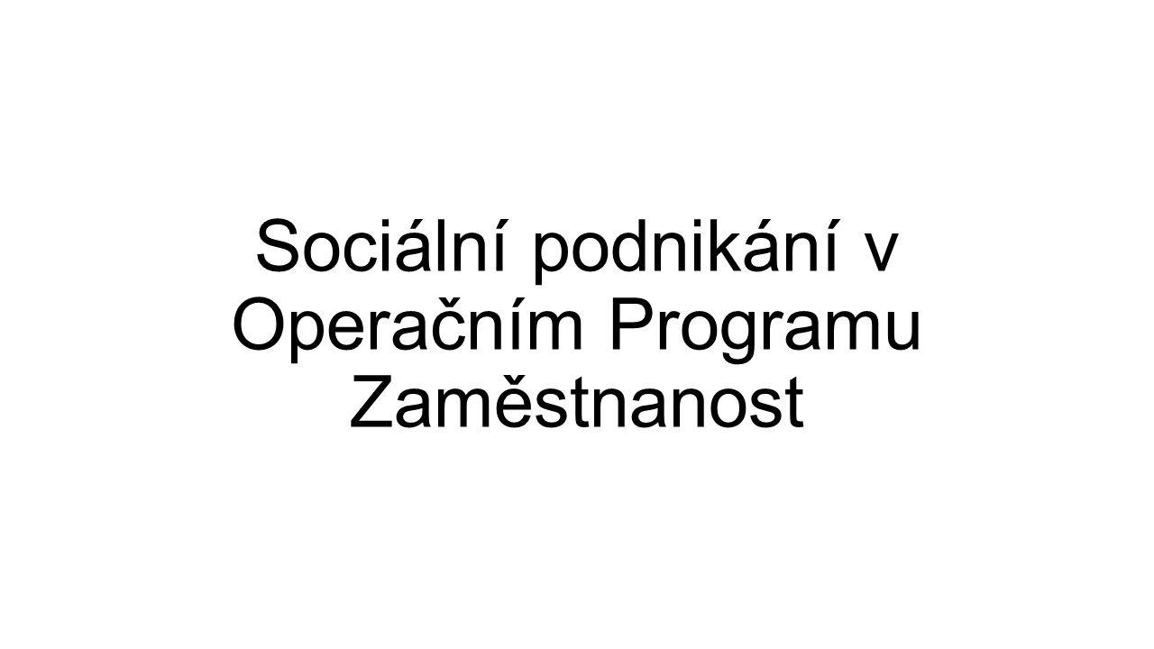 Sociální podnikání v Operačním Programu Zaměstnanost