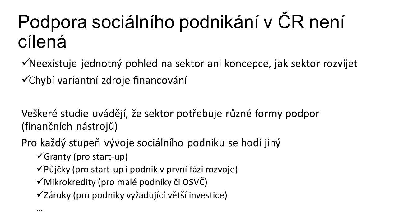 Podpora sociálního podnikání v ČR není cílená Neexistuje jednotný pohled na sektor ani koncepce, jak sektor rozvíjet Chybí variantní zdroje financování Veškeré studie uvádějí, že sektor potřebuje různé formy podpor (finančních nástrojů) Pro každý stupeň vývoje sociálního podniku se hodí jiný Granty (pro start-up) Půjčky (pro start-up i podnik v první fázi rozvoje) Mikrokredity (pro malé podniky či OSVČ) Záruky (pro podniky vyžadující větší investice) …