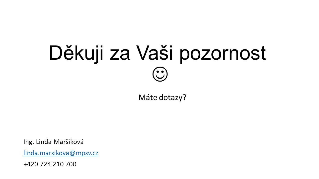 Děkuji za Vaši pozornost Máte dotazy Ing. Linda Maršíková linda.marsikova@mpsv.cz +420 724 210 700
