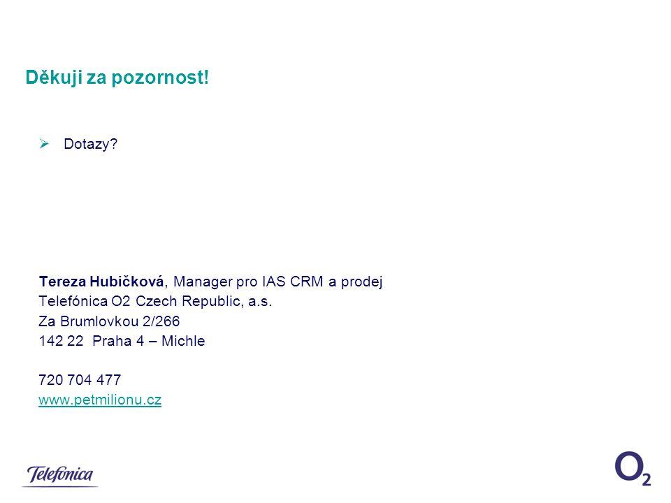  Dotazy. Tereza Hubičková, Manager pro IAS CRM a prodej Telefónica O2 Czech Republic, a.s.