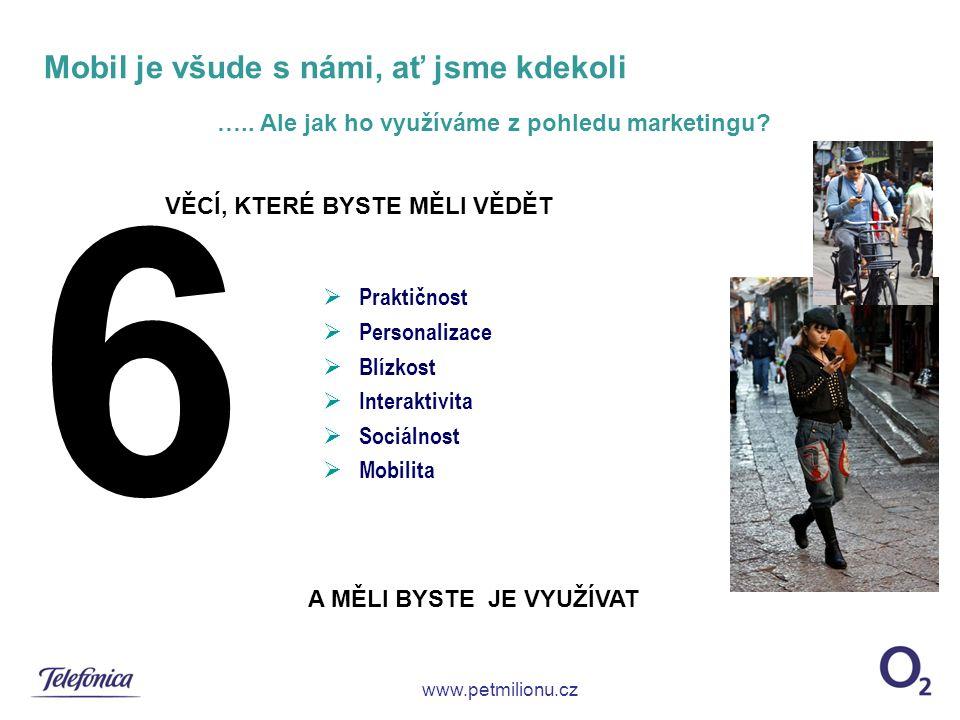 Mobil je všude s námi, ať jsme kdekoli  Praktičnost  Personalizace  Blízkost  Interaktivita  Sociálnost  Mobilita www.petmilionu.cz …..