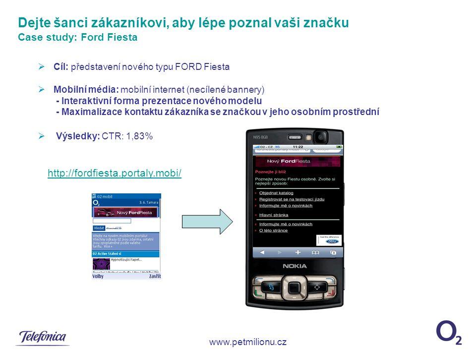 Cíl: představení nového typu FORD Fiesta  Mobilní média: mobilní internet (necílené bannery) - Interaktivní forma prezentace nového modelu - Maximalizace kontaktu zákazníka se značkou v jeho osobním prostřední  Výsledky: CTR: 1,83% Dejte šanci zákazníkovi, aby lépe poznal vaši značku Case study: Ford Fiesta www.petmilionu.cz http://fordfiesta.portaly.mobi/