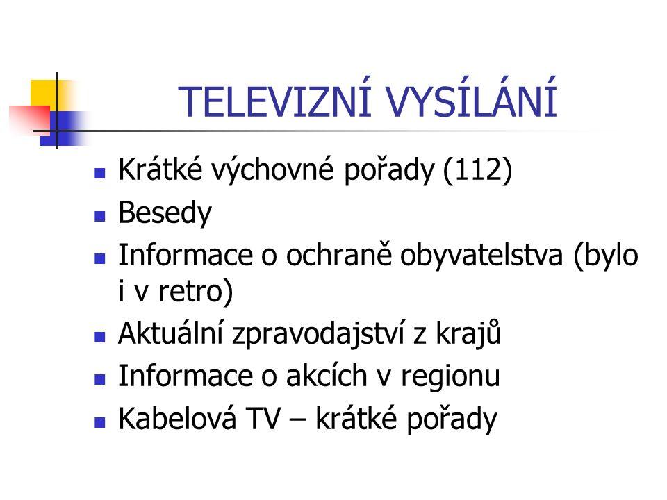 TELEVIZNÍ VYSÍLÁNÍ Krátké výchovné pořady (112) Besedy Informace o ochraně obyvatelstva (bylo i v retro) Aktuální zpravodajství z krajů Informace o akcích v regionu Kabelová TV – krátké pořady