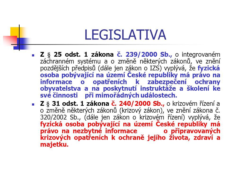 LEGISLATIVA Z § 25 odst. 1 zákona č.
