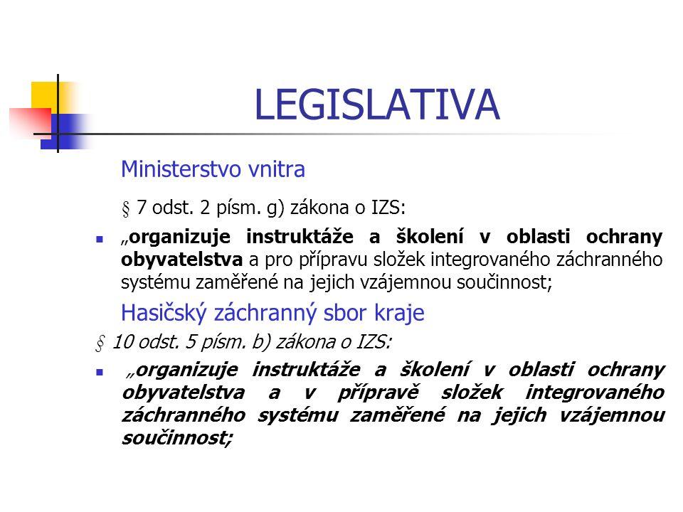 """LEGISLATIVA Ministerstvo vnitra § 7 odst. 2 písm. g) zákona o IZS: """"organizuje instruktáže a školení v oblasti ochrany obyvatelstva a pro přípravu slo"""