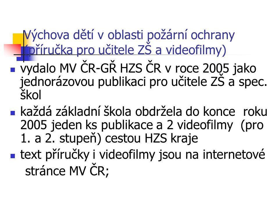 Výchova dětí v oblasti požární ochrany (příručka pro učitele ZŠ a videofilmy) vydalo MV ČR-GŘ HZS ČR v roce 2005 jako jednorázovou publikaci pro učitele ZŠ a spec.