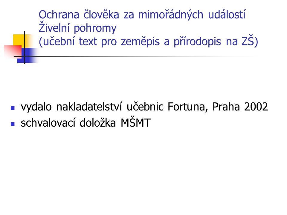 Ochrana člověka za mimořádných událostí Živelní pohromy (učební text pro zeměpis a přírodopis na ZŠ) vydalo nakladatelství učebnic Fortuna, Praha 2002 schvalovací doložka MŠMT
