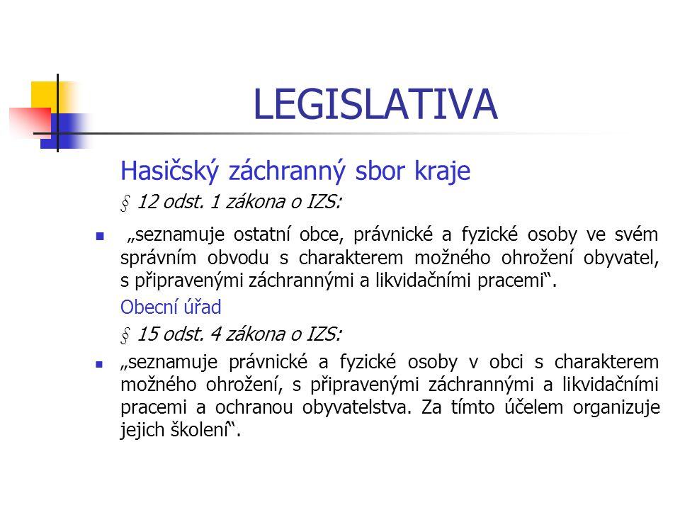 LEGISLATIVA Hasičský záchranný sbor kraje § 12 odst.