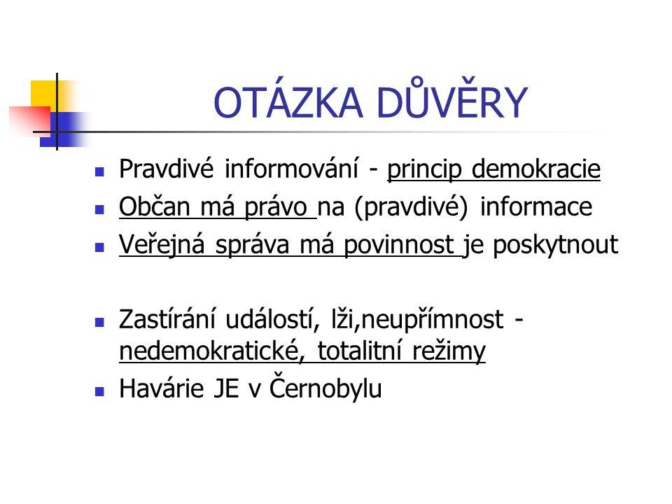 OTÁZKA DŮVĚRY Pravdivé informování - princip demokracie Občan má právo na (pravdivé) informace Veřejná správa má povinnost je poskytnout Zastírání událostí, lži,neupřímnost - nedemokratické, totalitní režimy Havárie JE v Černobylu