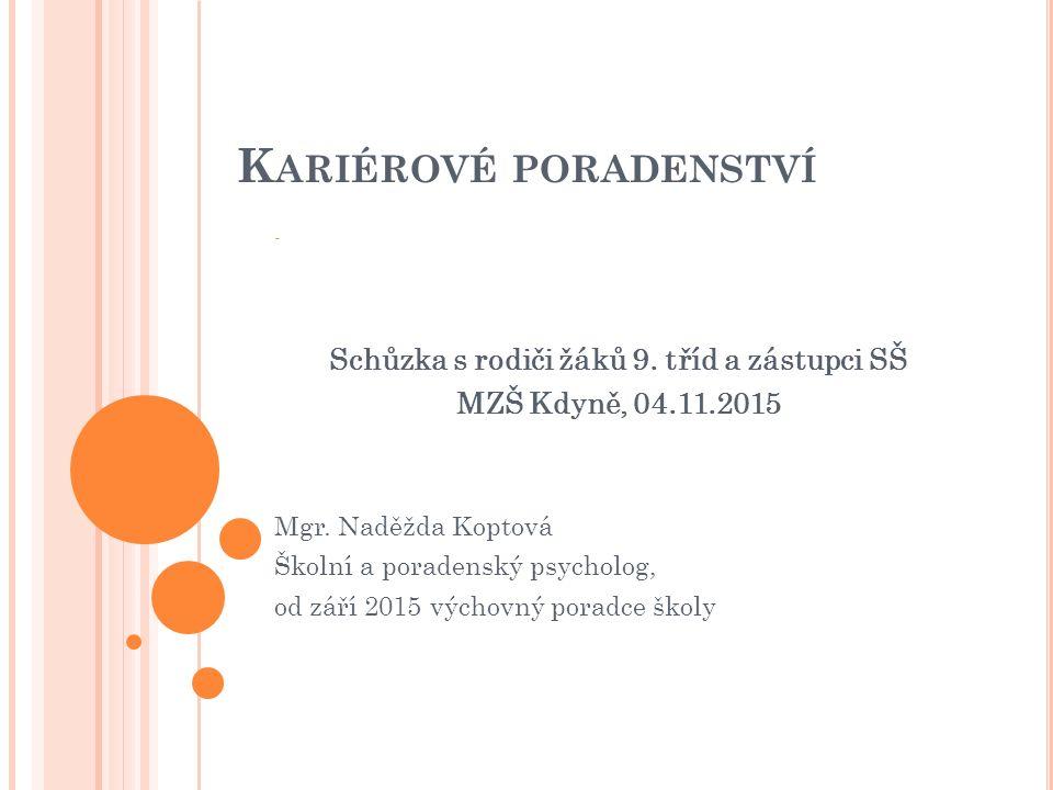 K ARIÉROVÉ PORADENSTVÍ - Schůzka s rodiči žáků 9. tříd a zástupci SŠ MZŠ Kdyně, 04.11.2015 Mgr.