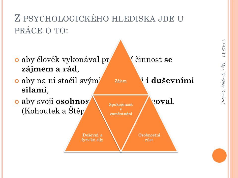 Z PSYCHOLOGICKÉHO HLEDISKA JDE U PRÁCE O TO : aby člověk vykonával pracovní činnost se zájmem a rád, aby na ni stačil svými tělesnými i duševními sila
