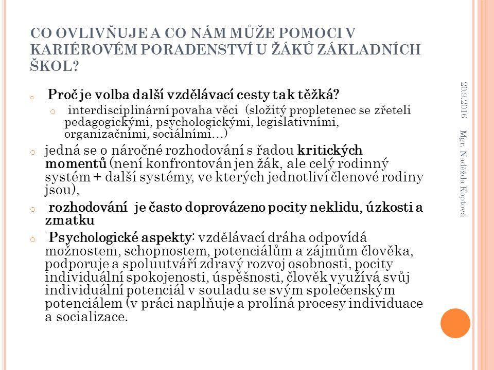 ZDROJE INFORMACÍ PRO VOLBU SŠ/POVOLÁNÍ U ŽÁKŮ ZŠ/SŠ – 2012, VÝZKUM (ŠŤASTNOVÁ, DRAHOŇOVSKÁ) 20.9.2016 Mgr.