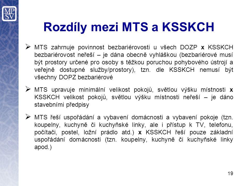 Rozdíly mezi MTS a KSSKCH  MTS zahrnuje povinnost bezbariérovosti u všech DOZP x KSSKCH bezbariérovost neřeší – je dána obecně vyhláškou (bezbariérové musí být prostory určené pro osoby s těžkou poruchou pohybového ústrojí a veřejně dostupné služby/prostory), tzn.