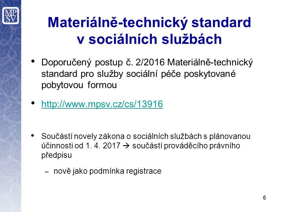 Materiálně-technický standard v sociálních službách Doporučený postup č. 2/2016 Materiálně-technický standard pro služby sociální péče poskytované pob