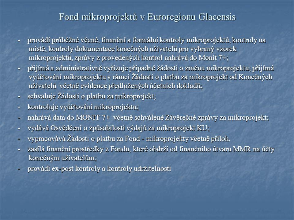 Fond mikroprojektů v Euroregionu Glacensis Financování mikroprojektů: Financování mikroprojektu probíhá v měně EUR.