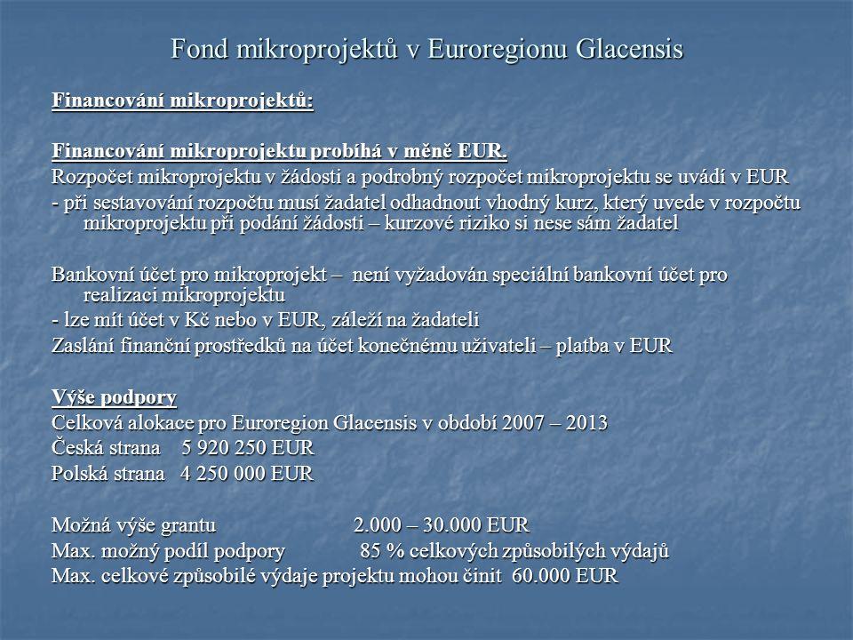 Fond mikroprojektů v Euroregionu Glacensis Doba trvání projektu max.