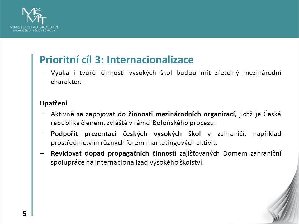 5 Prioritní cíl 3: Internacionalizace  Výuka i tvůrčí činnosti vysokých škol budou mít zřetelný mezinárodní charakter.