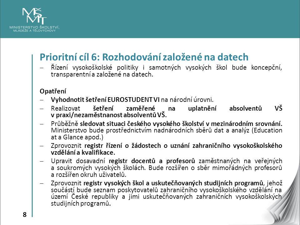 8 Prioritní cíl 6: Rozhodování založené na datech  Řízení vysokoškolské politiky i samotných vysokých škol bude koncepční, transparentní a založené na datech.