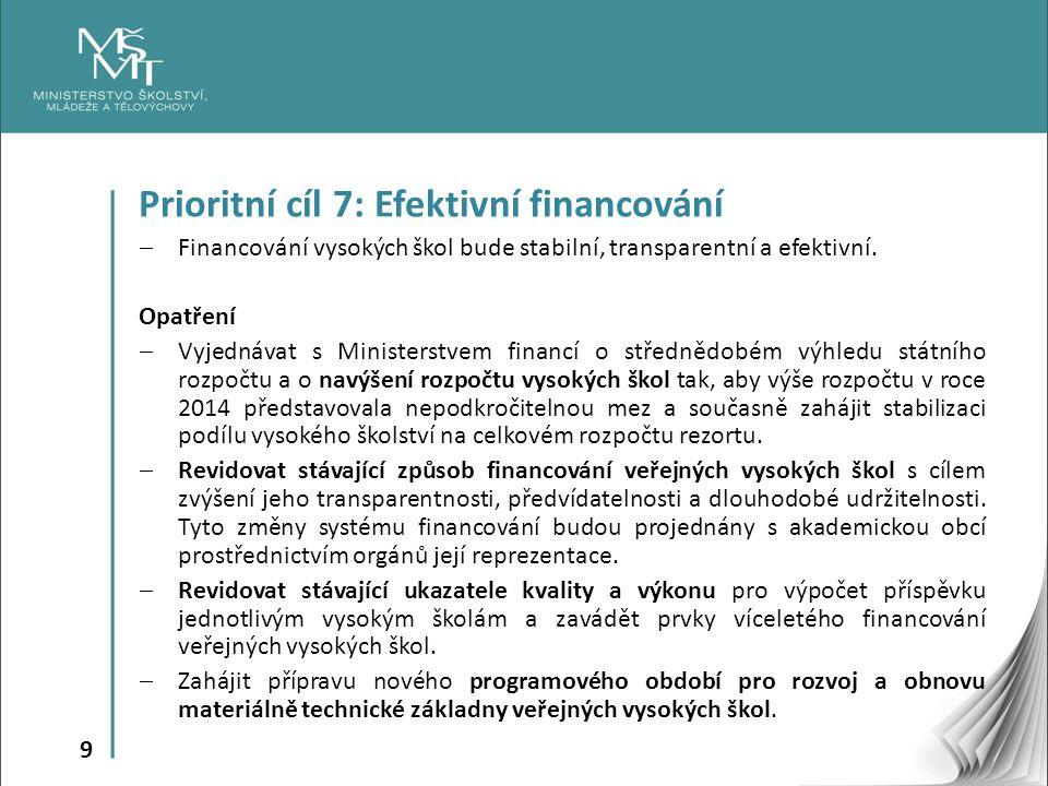 9 Prioritní cíl 7: Efektivní financování  Financování vysokých škol bude stabilní, transparentní a efektivní.