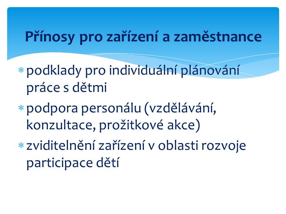 Přínosy pro zařízení a zaměstnance  podklady pro individuální plánování práce s dětmi  podpora personálu (vzdělávání, konzultace, prožitkové akce)  zviditelnění zařízení v oblasti rozvoje participace dětí