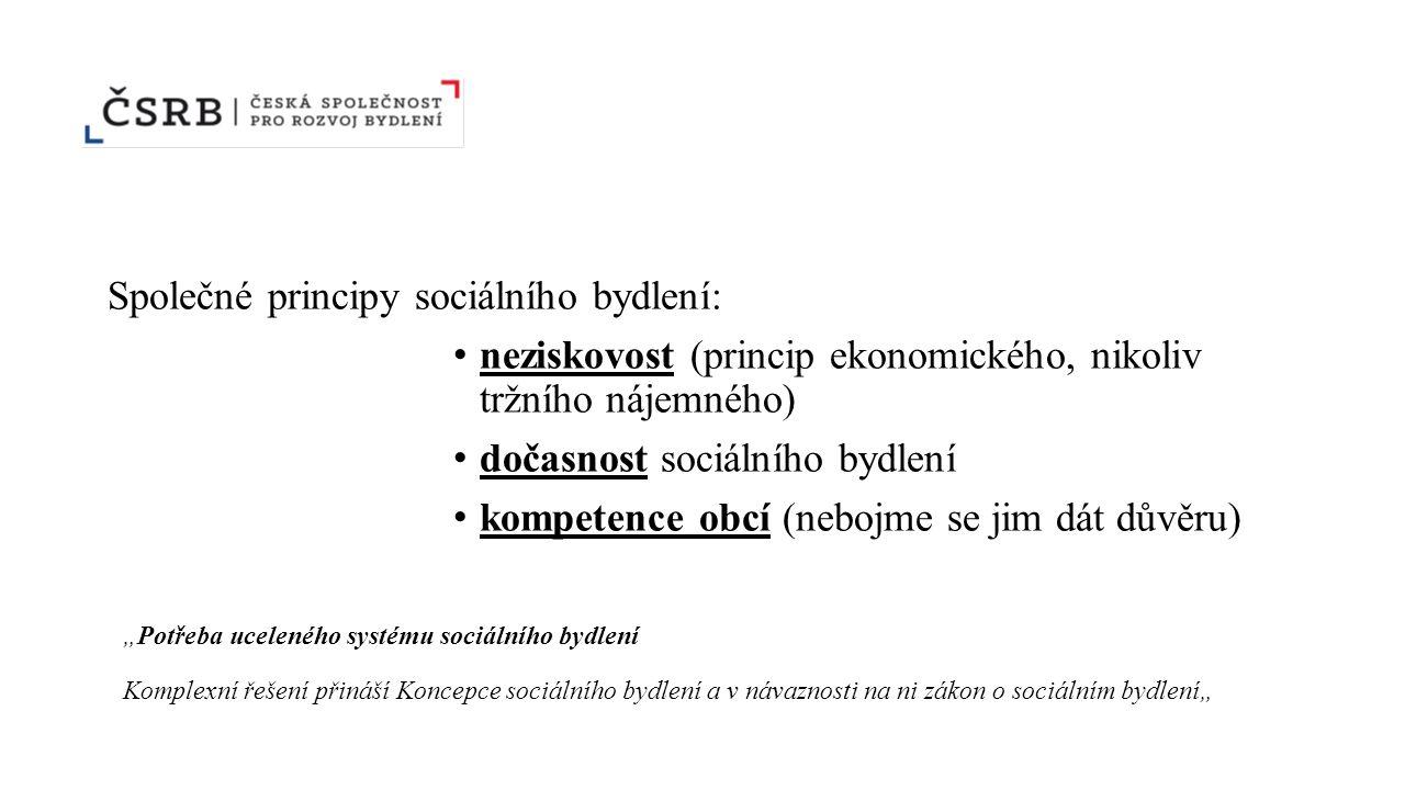 """Společné principy sociálního bydlení: neziskovost (princip ekonomického, nikoliv tržního nájemného) dočasnost sociálního bydlení kompetence obcí (nebojme se jim dát důvěru) """"Potřeba uceleného systému sociálního bydlení Komplexní řešení přináší Koncepce sociálního bydlení a v návaznosti na ni zákon o sociálním bydlení"""""""