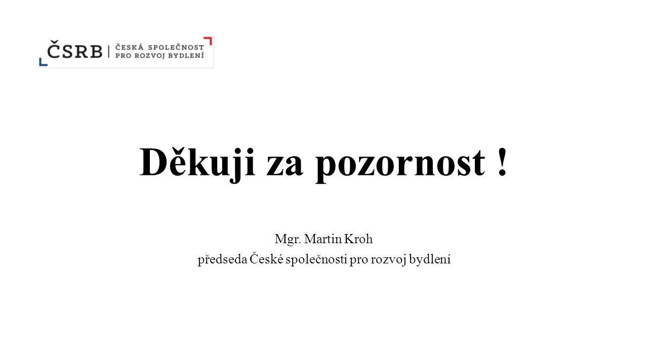 Děkuji za pozornost ! Mgr. Martin Kroh předseda České společnosti pro rozvoj bydlení