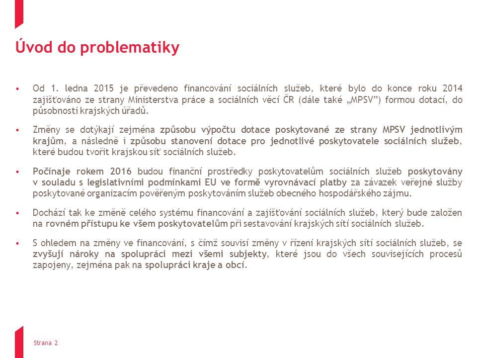Úvod do problematiky Od 1. ledna 2015 je převedeno financování sociálních služeb, které bylo do konce roku 2014 zajišťováno ze strany Ministerstva prá