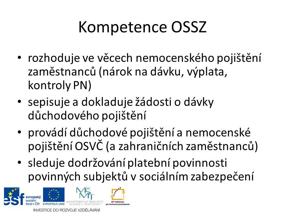 Kompetence OSSZ rozhoduje ve věcech nemocenského pojištění zaměstnanců (nárok na dávku, výplata, kontroly PN) sepisuje a dokladuje žádosti o dávky důc