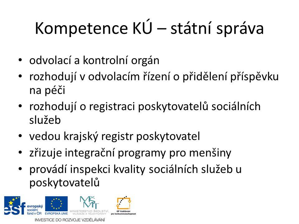 Kompetence KÚ – státní správa odvolací a kontrolní orgán rozhodují v odvolacím řízení o přidělení příspěvku na péči rozhodují o registraci poskytovate