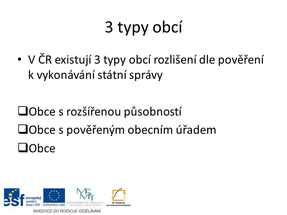 3 typy obcí V ČR existují 3 typy obcí rozlišení dle pověření k vykonávání státní správy  Obce s rozšířenou působností  Obce s pověřeným obecním úřad