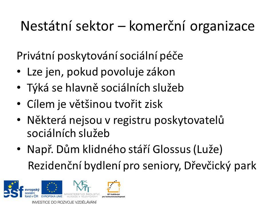 Nestátní sektor – komerční organizace Privátní poskytování sociální péče Lze jen, pokud povoluje zákon Týká se hlavně sociálních služeb Cílem je větši