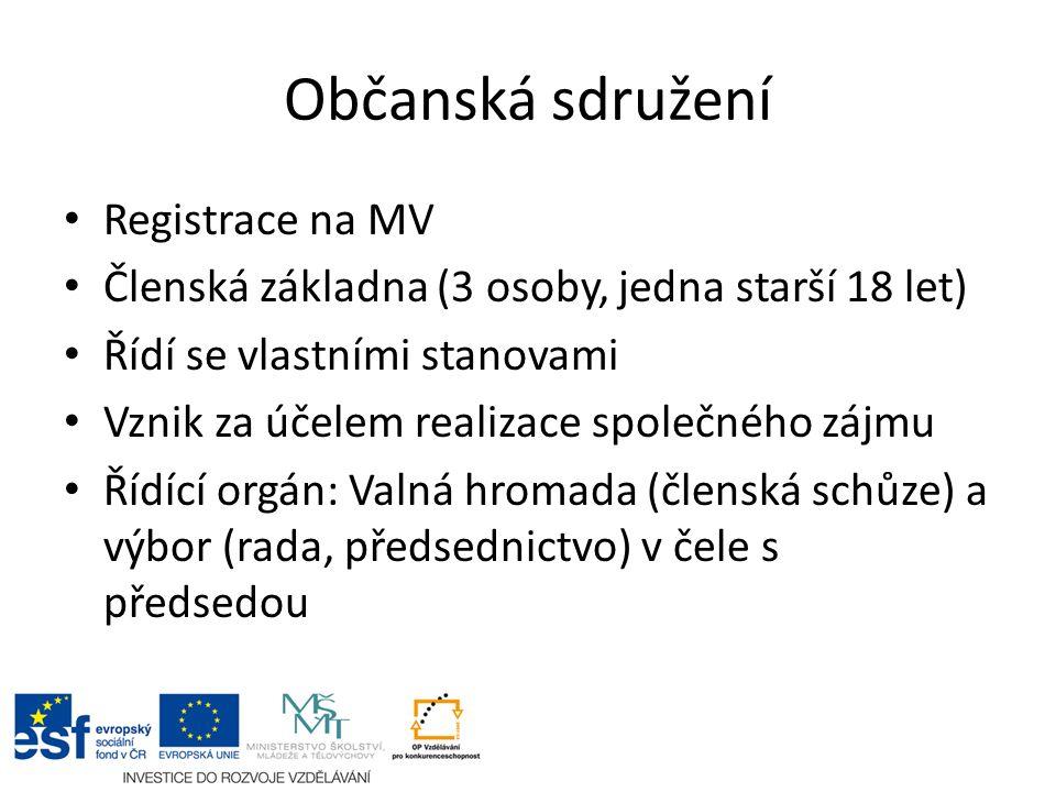 Občanská sdružení Registrace na MV Členská základna (3 osoby, jedna starší 18 let) Řídí se vlastními stanovami Vznik za účelem realizace společného zá